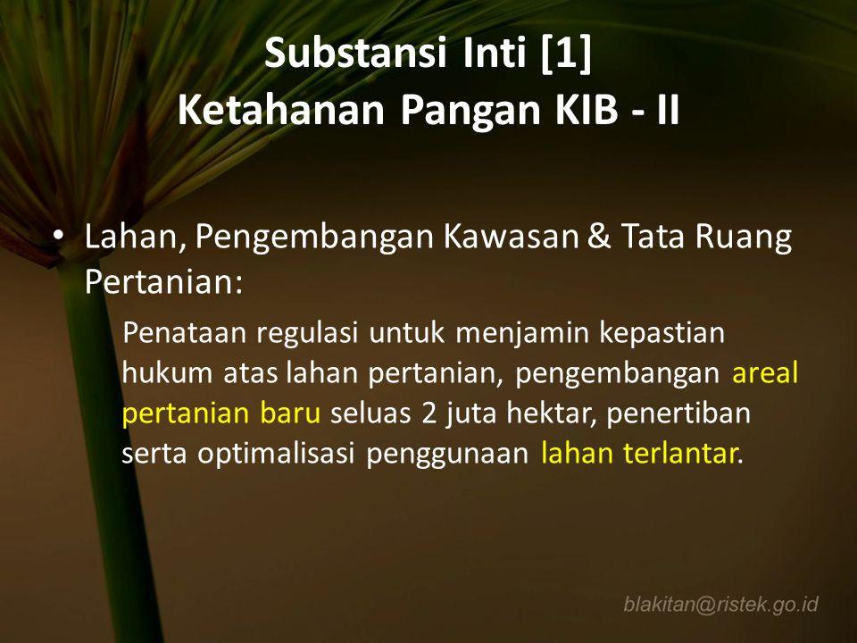 Substansi Inti [1] Ketahanan Pangan KIB - II Lahan, Pengembangan Kawasan & Tata Ruang Pertanian: Penataan regulasi untuk menjamin kepastian hukum atas