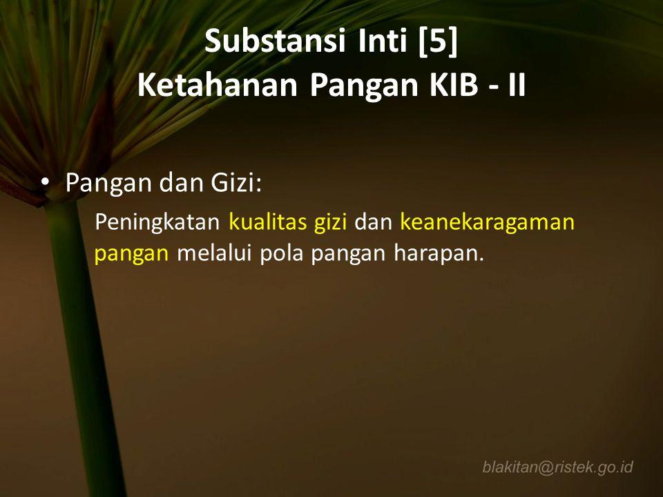 Substansi Inti [5] Ketahanan Pangan KIB - II Pangan dan Gizi: Peningkatan kualitas gizi dan keanekaragaman pangan melalui pola pangan harapan.