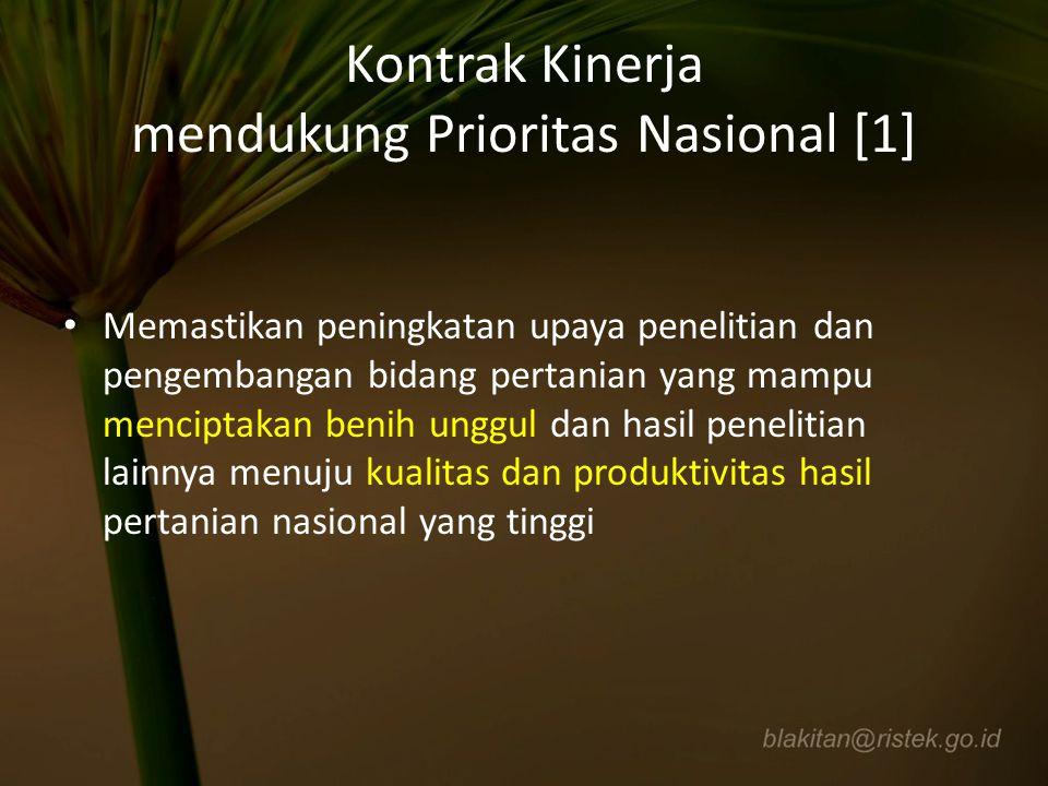 Kontrak Kinerja mendukung Prioritas Nasional [1] Memastikan peningkatan upaya penelitian dan pengembangan bidang pertanian yang mampu menciptakan beni