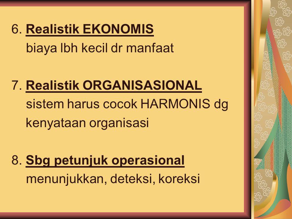 6. Realistik EKONOMIS biaya lbh kecil dr manfaat 7. Realistik ORGANISASIONAL sistem harus cocok HARMONIS dg kenyataan organisasi 8. Sbg petunjuk opera