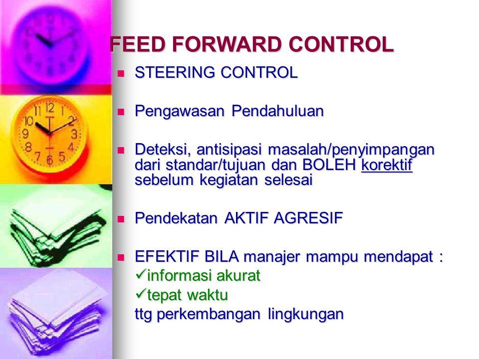 FEED FORWARD CONTROL STEERING CONTROL STEERING CONTROL Pengawasan Pendahuluan Pengawasan Pendahuluan Deteksi, antisipasi masalah/penyimpangan dari sta