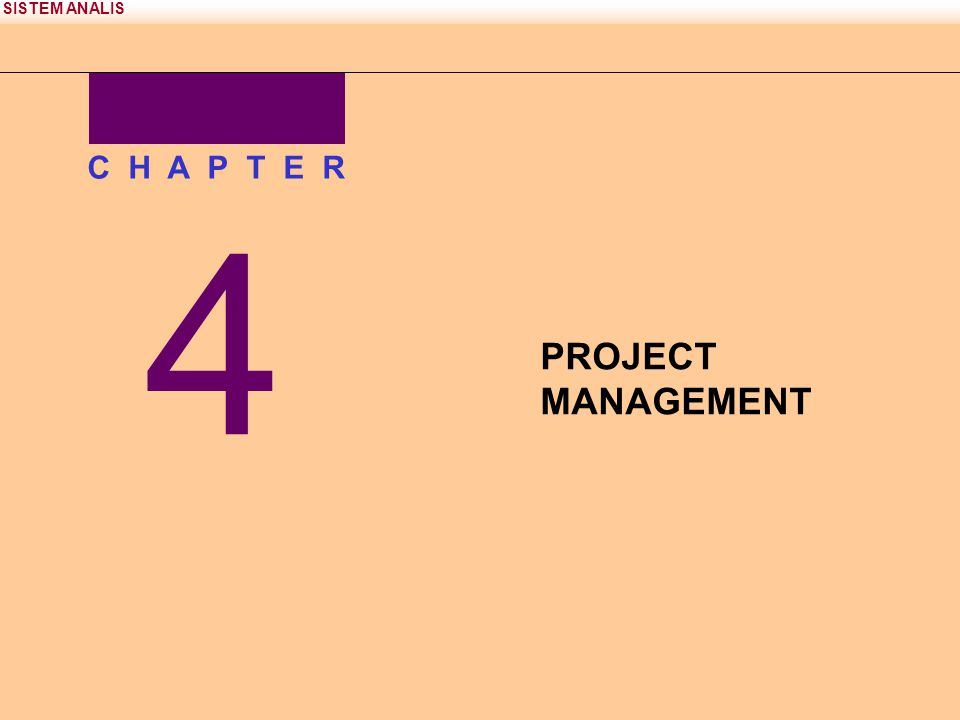 SISTEM ANALIS 4 C H A P T E R PROJECT MANAGEMENT