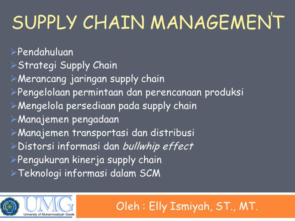 SUPPLY CHAIN MANAGEMENT Oleh : Elly Ismiyah, ST., MT.  Pendahuluan  Strategi Supply Chain  Merancang jaringan supply chain  Pengelolaan permintaan