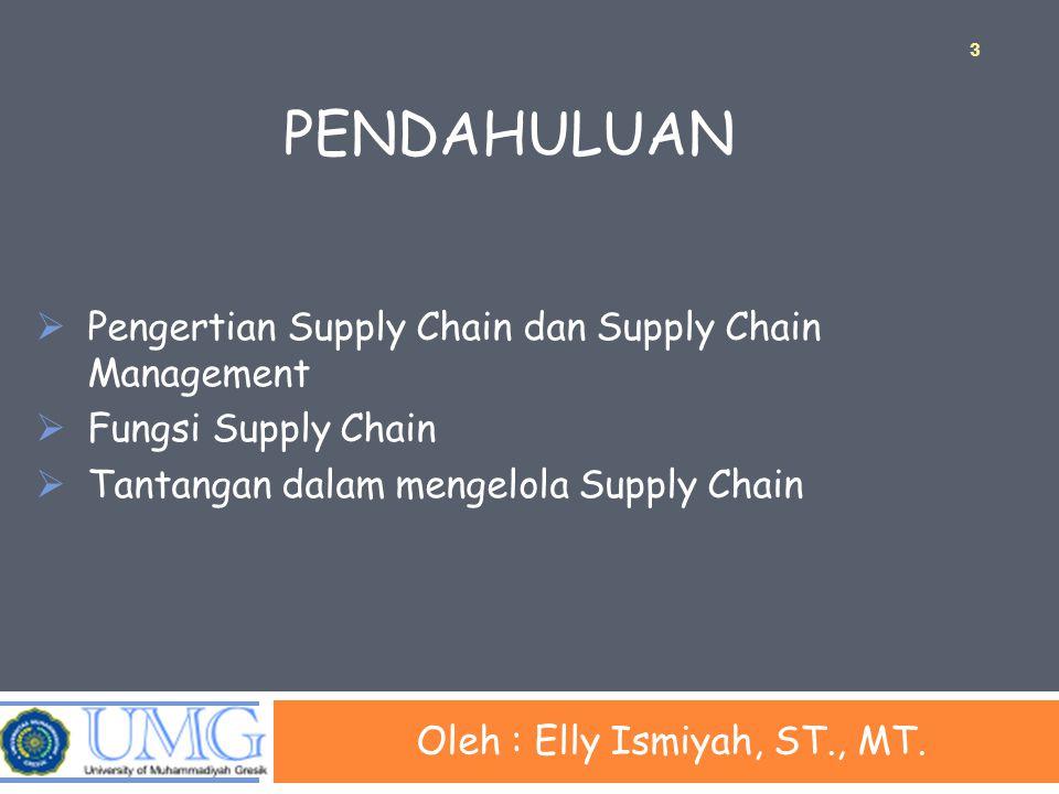 PENDAHULUAN Oleh : Elly Ismiyah, ST., MT.  Pengertian Supply Chain dan Supply Chain Management  Fungsi Supply Chain  Tantangan dalam mengelola Supp