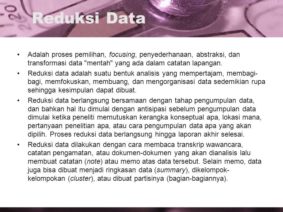 Reduksi Data Adalah proses pemilihan, focusing, penyederhanaan, abstraksi, dan transformasi data