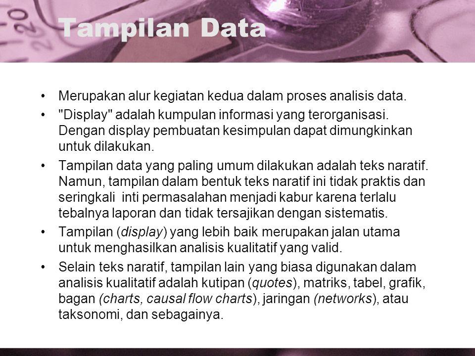 Tampilan Data Merupakan alur kegiatan kedua dalam proses analisis data.
