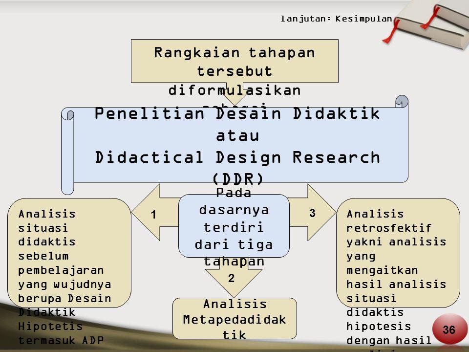 lanjutan: Kesimpulan Rangkaian tahapan tersebut diformulasikan sebagai Penelitian Desain Didaktik atau Didactical Design Research (DDR) Pada dasarnya