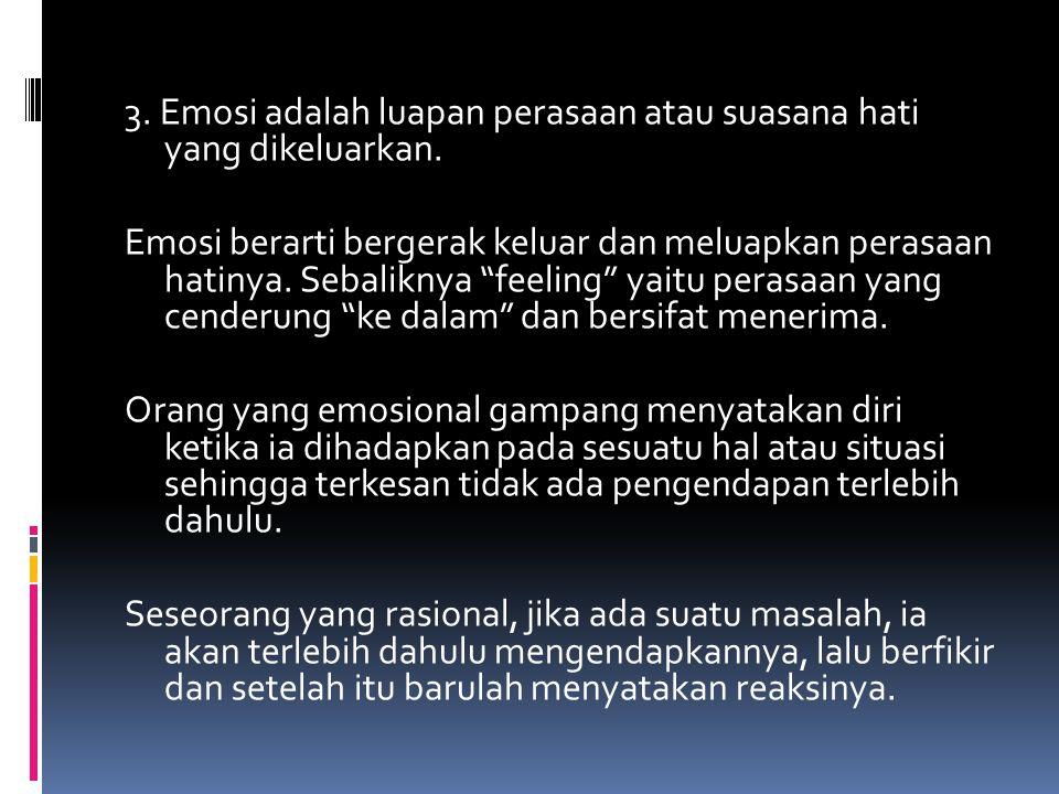 "3. Emosi adalah luapan perasaan atau suasana hati yang dikeluarkan. Emosi berarti bergerak keluar dan meluapkan perasaan hatinya. Sebaliknya ""feeling"""