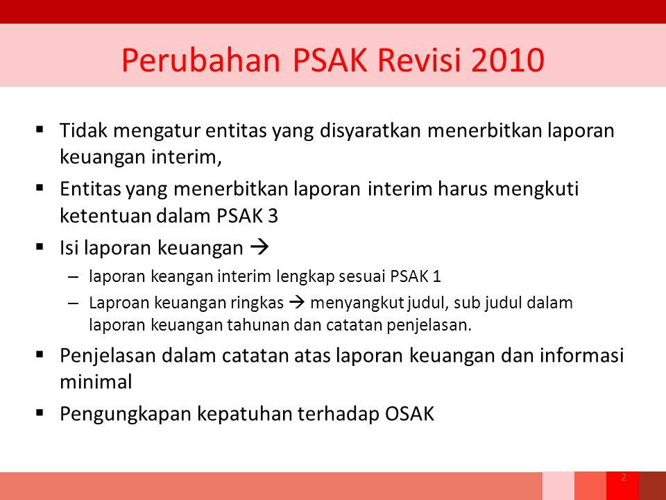 Perubahan PSAK Revisi 2010  Tidak mengatur entitas yang disyaratkan menerbitkan laporan keuangan interim,  Entitas yang menerbitkan laporan interim