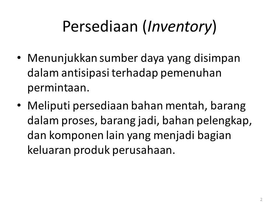 Persediaan (Inventory) Menunjukkan sumber daya yang disimpan dalam antisipasi terhadap pemenuhan permintaan. Meliputi persediaan bahan mentah, barang