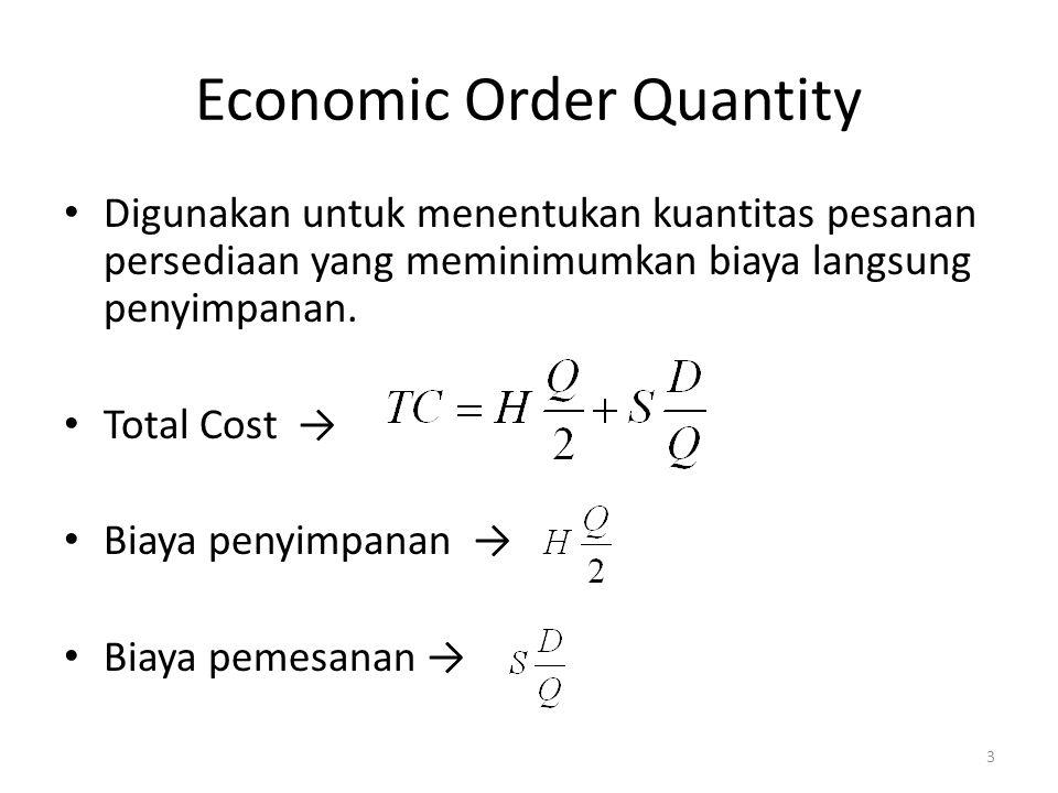Economic Order Quantity Digunakan untuk menentukan kuantitas pesanan persediaan yang meminimumkan biaya langsung penyimpanan. Total Cost → Biaya penyi