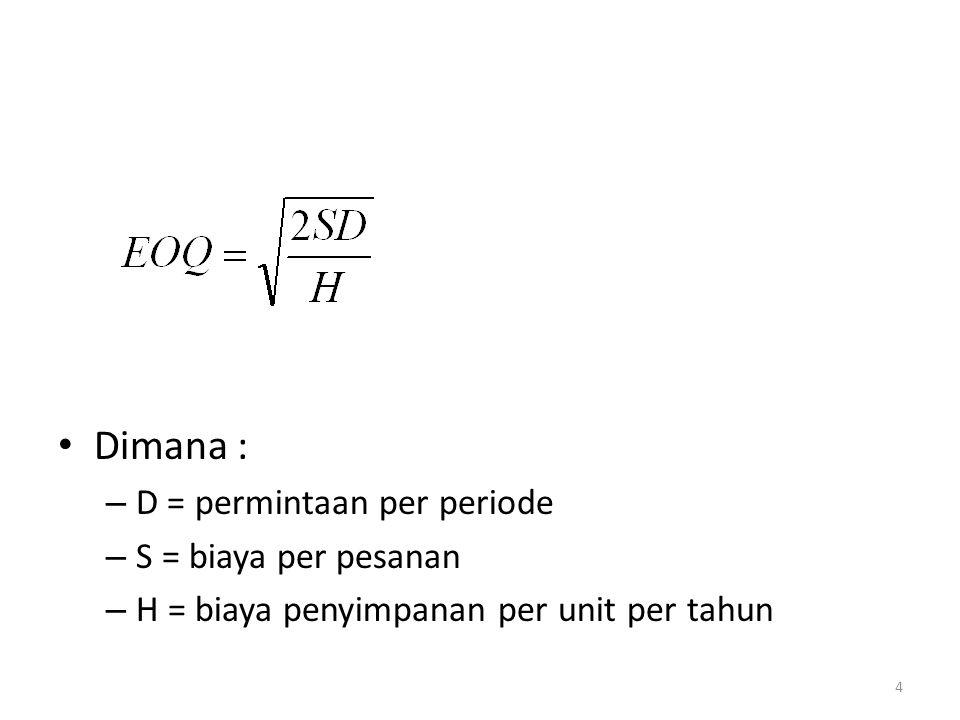 Dimana : – D = permintaan per periode – S = biaya per pesanan – H = biaya penyimpanan per unit per tahun 4