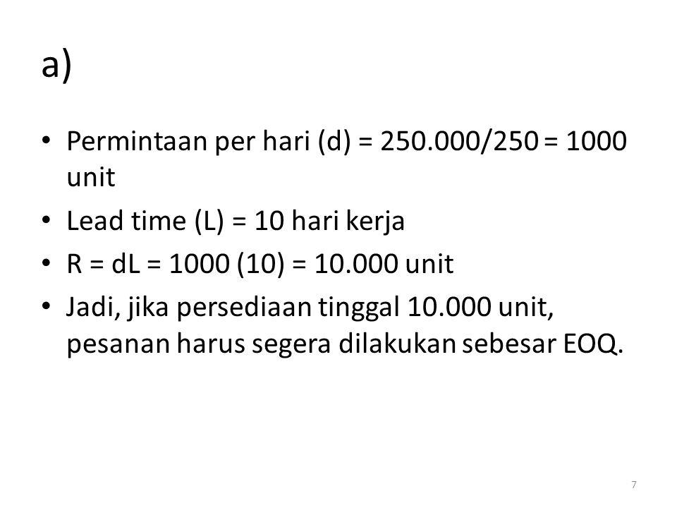 a) Permintaan per hari (d) = 250.000/250 = 1000 unit Lead time (L) = 10 hari kerja R = dL = 1000 (10) = 10.000 unit Jadi, jika persediaan tinggal 10.000 unit, pesanan harus segera dilakukan sebesar EOQ.