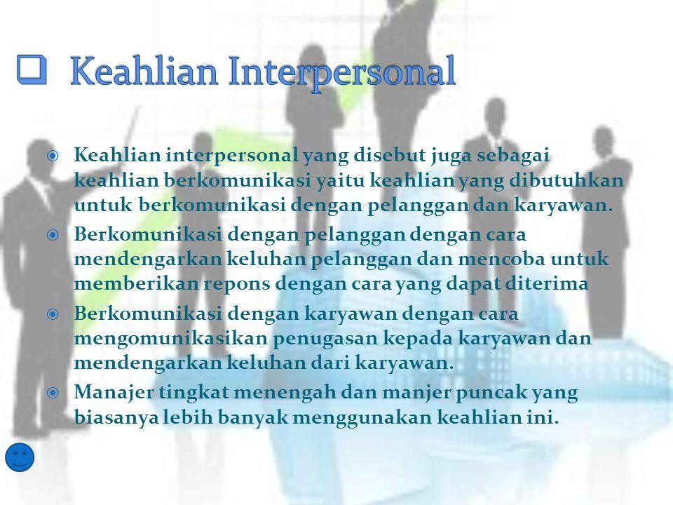  Manajer dengan keahlian konseptual yaitu kemapuan untuk memahami hubungan yang terdapat di antara berbagai pekerjaan dalam sebuah perusahaan.  Mana