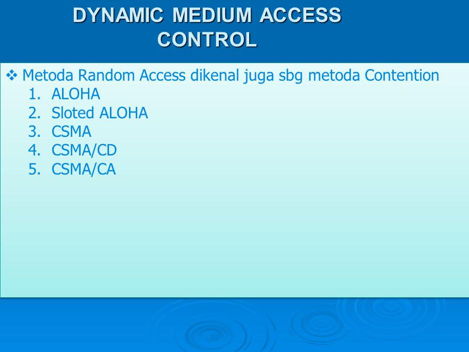 DYNAMIC MEDIUM ACCESS CONTROL  Metoda Random Access dikenal juga sbg metoda Contention 1.ALOHA 2.Sloted ALOHA 3.CSMA 4.CSMA/CD 5.CSMA/CA  Metoda Ran