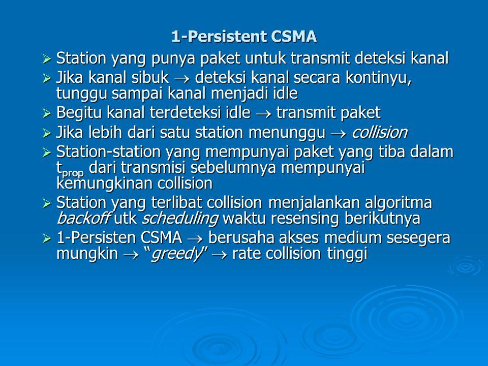 1-Persistent CSMA  Station yang punya paket untuk transmit deteksi kanal  Jika kanal sibuk  deteksi kanal secara kontinyu, tunggu sampai kanal menj