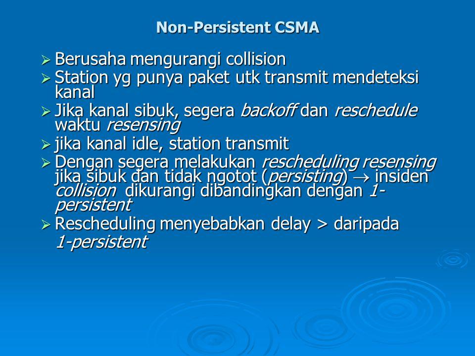 Non-Persistent CSMA  Berusaha mengurangi collision  Station yg punya paket utk transmit mendeteksi kanal  Jika kanal sibuk, segera backoff dan resc