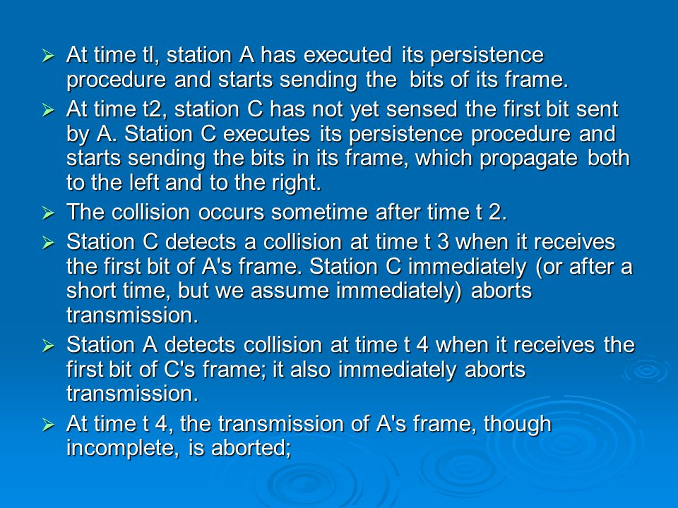  At time tl, station A has executed its persistence procedure and starts sending the bits of its frame.