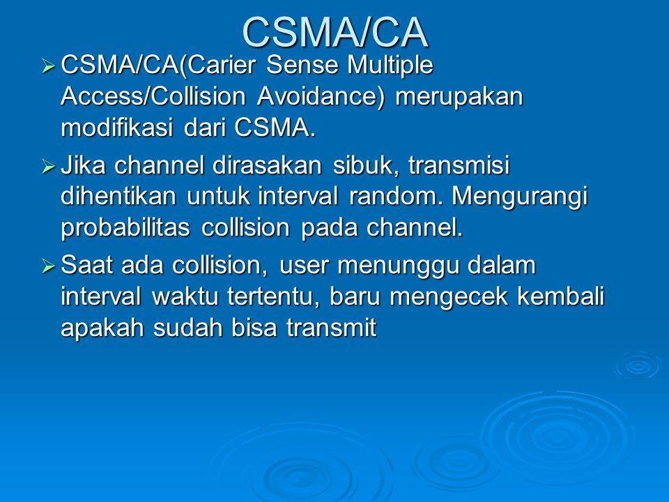CSMA/CA  CSMA/CA(Carier Sense Multiple Access/Collision Avoidance) merupakan modifikasi dari CSMA.  Jika channel dirasakan sibuk, transmisi dihentik