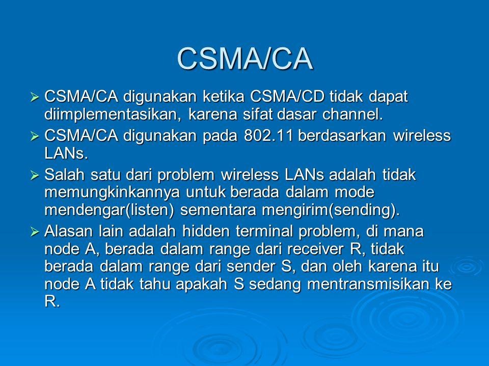 CSMA/CA  CSMA/CA digunakan ketika CSMA/CD tidak dapat diimplementasikan, karena sifat dasar channel.  CSMA/CA digunakan pada 802.11 berdasarkan wire