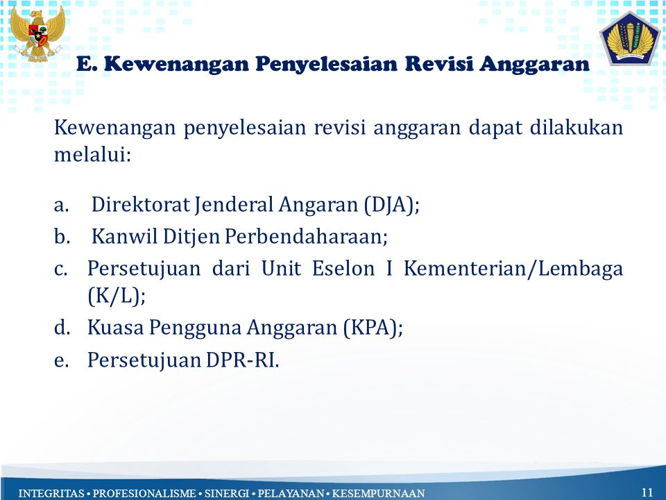 INTEGRITAS PROFESIONALISME SINERGI PELAYANAN KESEMPURNAAN 11 E. Kewenangan Penyelesaian Revisi Anggaran Kewenangan penyelesaian revisi anggaran dapat