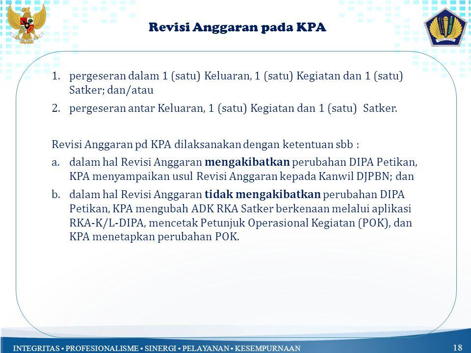 INTEGRITAS PROFESIONALISME SINERGI PELAYANAN KESEMPURNAAN 18 Revisi Anggaran pada KPA 1.pergeseran dalam 1 (satu) Keluaran, 1 (satu) Kegiatan dan 1 (s