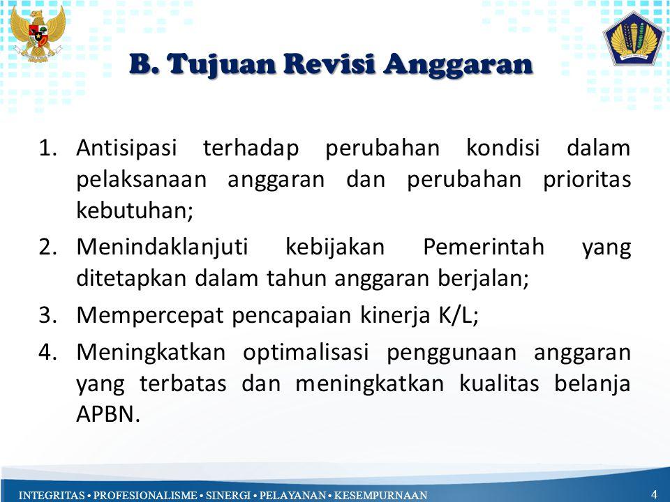 INTEGRITAS PROFESIONALISME SINERGI PELAYANAN KESEMPURNAAN 4 B. Tujuan Revisi Anggaran 1.Antisipasi terhadap perubahan kondisi dalam pelaksanaan anggar