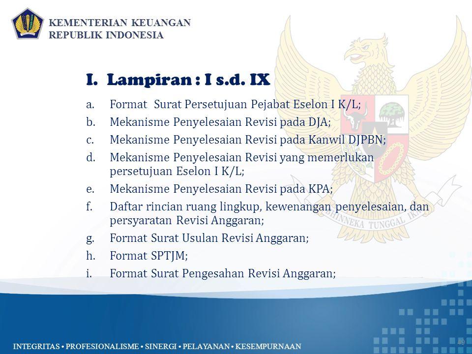 INTEGRITAS PROFESIONALISME SINERGI PELAYANAN KESEMPURNAAN 49 I. Lampiran : I s.d. IX a.Format Surat Persetujuan Pejabat Eselon I K/L; b.Mekanisme Peny