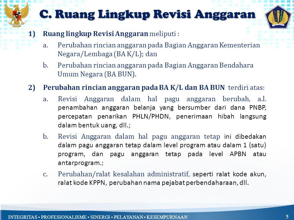 INTEGRITAS PROFESIONALISME SINERGI PELAYANAN KESEMPURNAAN 5 1)Ruang lingkup Revisi Anggaran meliputi : a.Perubahan rincian anggaran pada Bagian Anggar