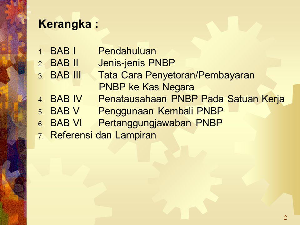 2 Kerangka : 1. BAB I Pendahuluan 2. BAB II Jenis-jenis PNBP 3. BAB III Tata Cara Penyetoran/Pembayaran PNBP ke Kas Negara 4. BAB IV Penatausahaan PNB