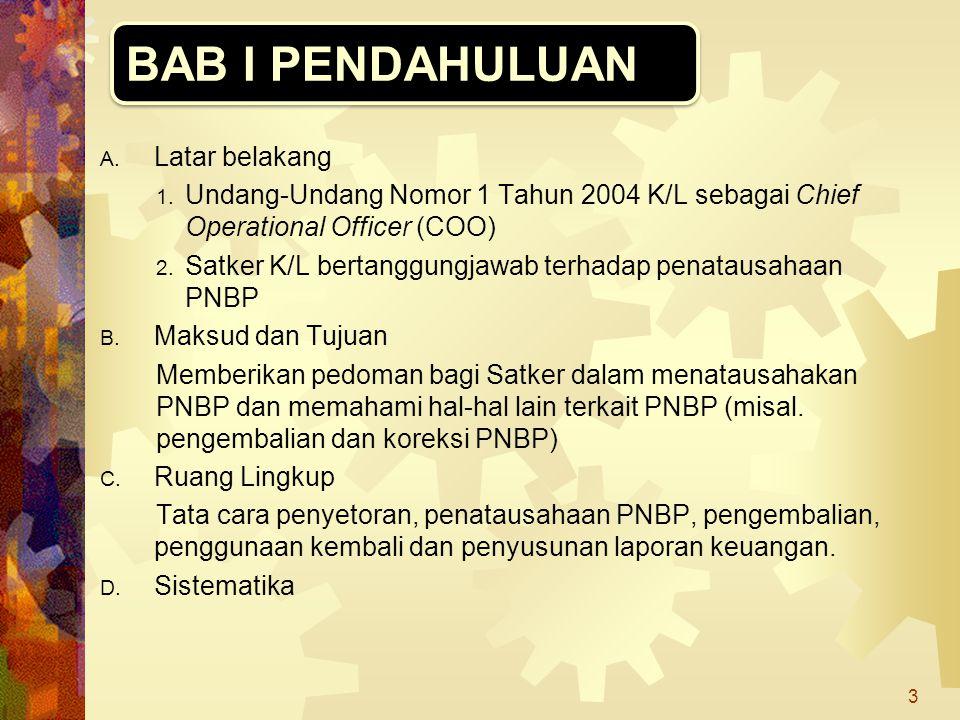 A. Latar belakang 1. Undang-Undang Nomor 1 Tahun 2004 K/L sebagai Chief Operational Officer (COO) 2. Satker K/L bertanggungjawab terhadap penatausahaa