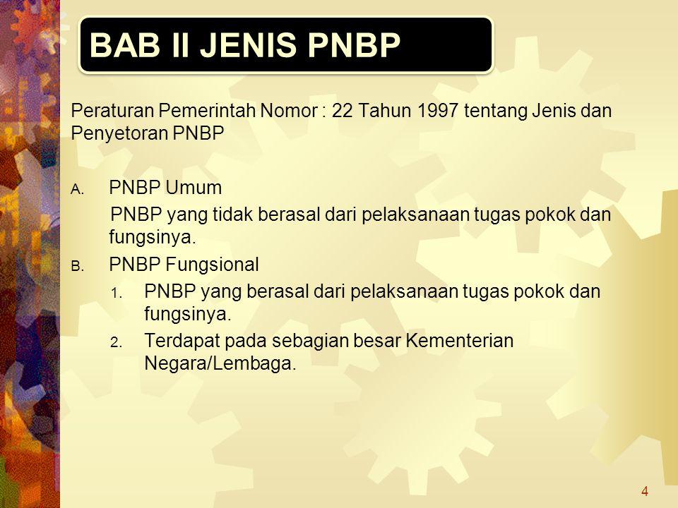 Peraturan Pemerintah Nomor : 22 Tahun 1997 tentang Jenis dan Penyetoran PNBP A. PNBP Umum PNBP yang tidak berasal dari pelaksanaan tugas pokok dan fun