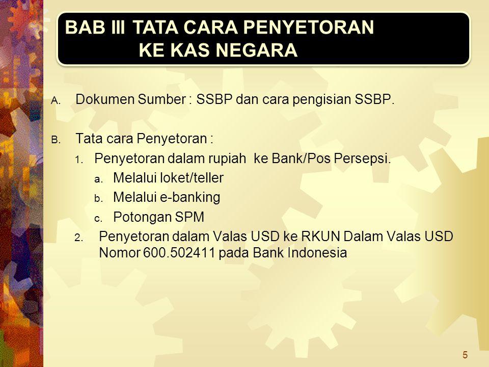 A. Dokumen Sumber : SSBP dan cara pengisian SSBP. B. Tata cara Penyetoran : 1. Penyetoran dalam rupiah ke Bank/Pos Persepsi. a. Melalui loket/teller b