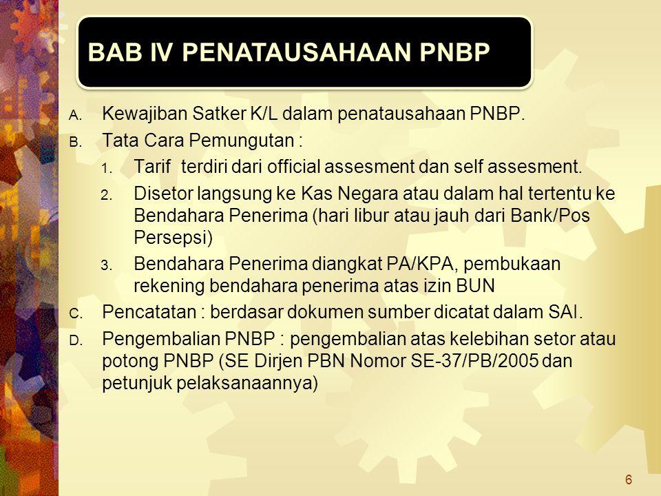 A. Kewajiban Satker K/L dalam penatausahaan PNBP. B. Tata Cara Pemungutan : 1. Tarif terdiri dari official assesment dan self assesment. 2. Disetor la