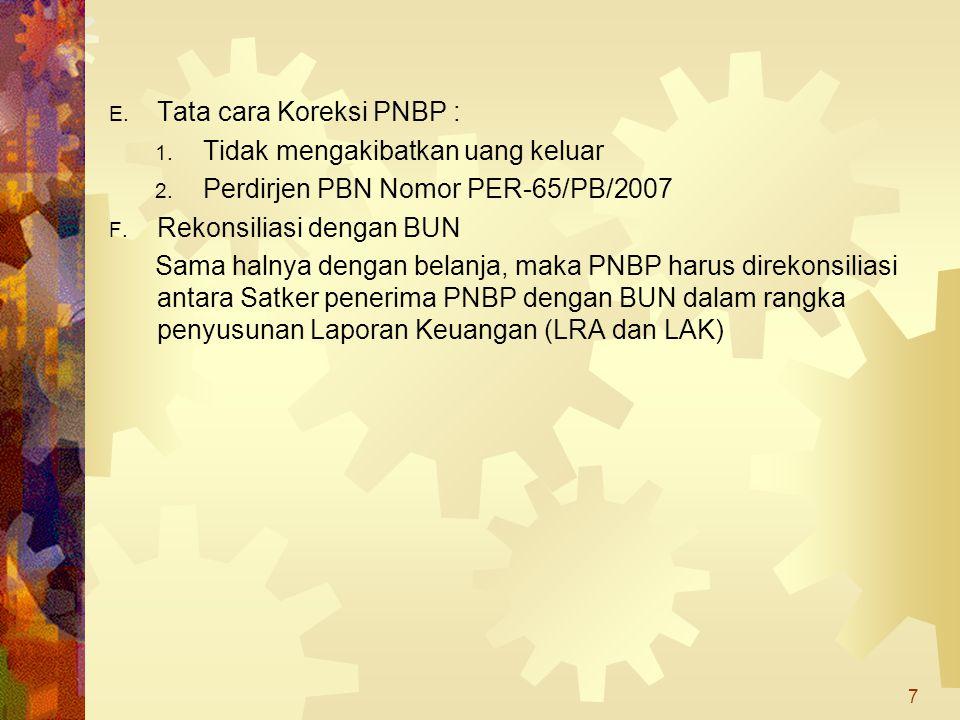 E. Tata cara Koreksi PNBP : 1. Tidak mengakibatkan uang keluar 2. Perdirjen PBN Nomor PER-65/PB/2007 F. Rekonsiliasi dengan BUN Sama halnya dengan bel