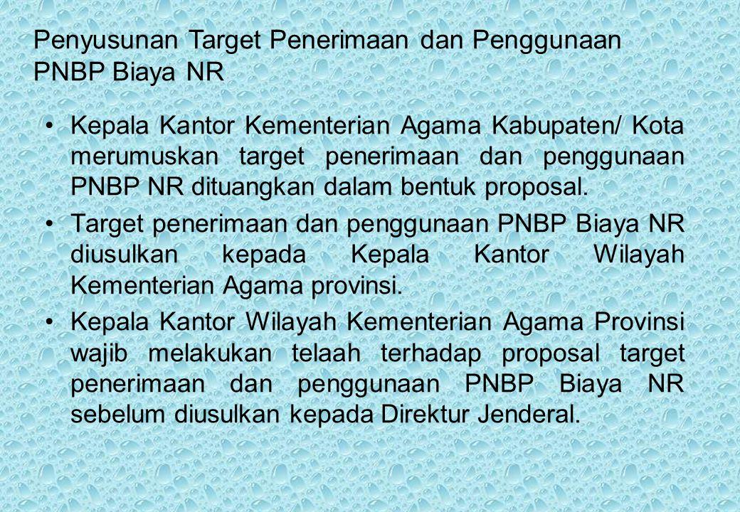 Kepala Kantor Kementerian Agama Kabupaten/ Kota merumuskan target penerimaan dan penggunaan PNBP NR dituangkan dalam bentuk proposal.