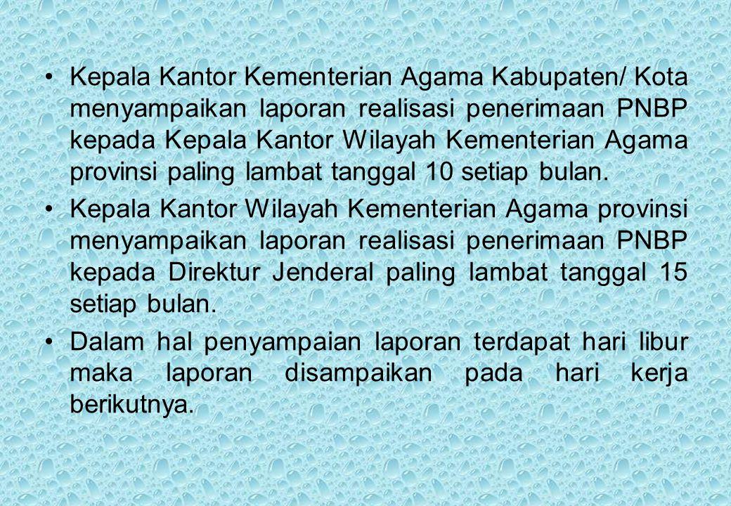 Kepala Kantor Kementerian Agama Kabupaten/ Kota menyampaikan laporan realisasi penerimaan PNBP kepada Kepala Kantor Wilayah Kementerian Agama provinsi