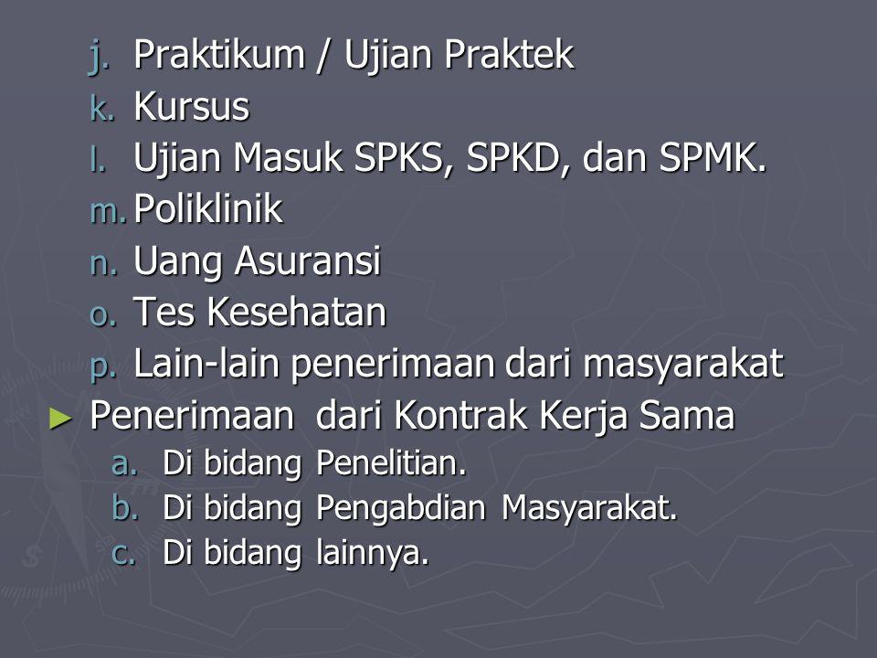 j. Praktikum / Ujian Praktek k. Kursus l. Ujian Masuk SPKS, SPKD, dan SPMK. m. Poliklinik n. Uang Asuransi o. Tes Kesehatan p. Lain-lain penerimaan da