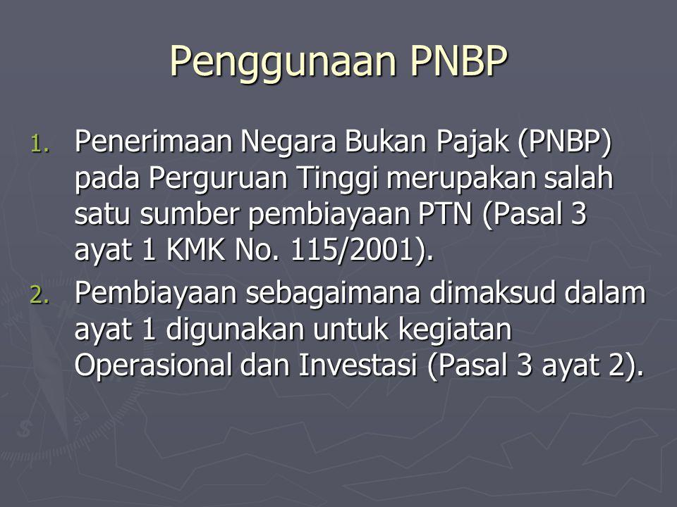 Penggunaan PNBP 1. Penerimaan Negara Bukan Pajak (PNBP) pada Perguruan Tinggi merupakan salah satu sumber pembiayaan PTN (Pasal 3 ayat 1 KMK No. 115/2
