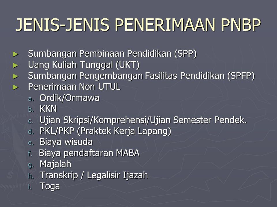 JENIS-JENIS PENERIMAAN PNBP ► Sumbangan Pembinaan Pendidikan (SPP) ► Uang Kuliah Tunggal (UKT) ► Sumbangan Pengembangan Fasilitas Pendidikan (SPFP) ►