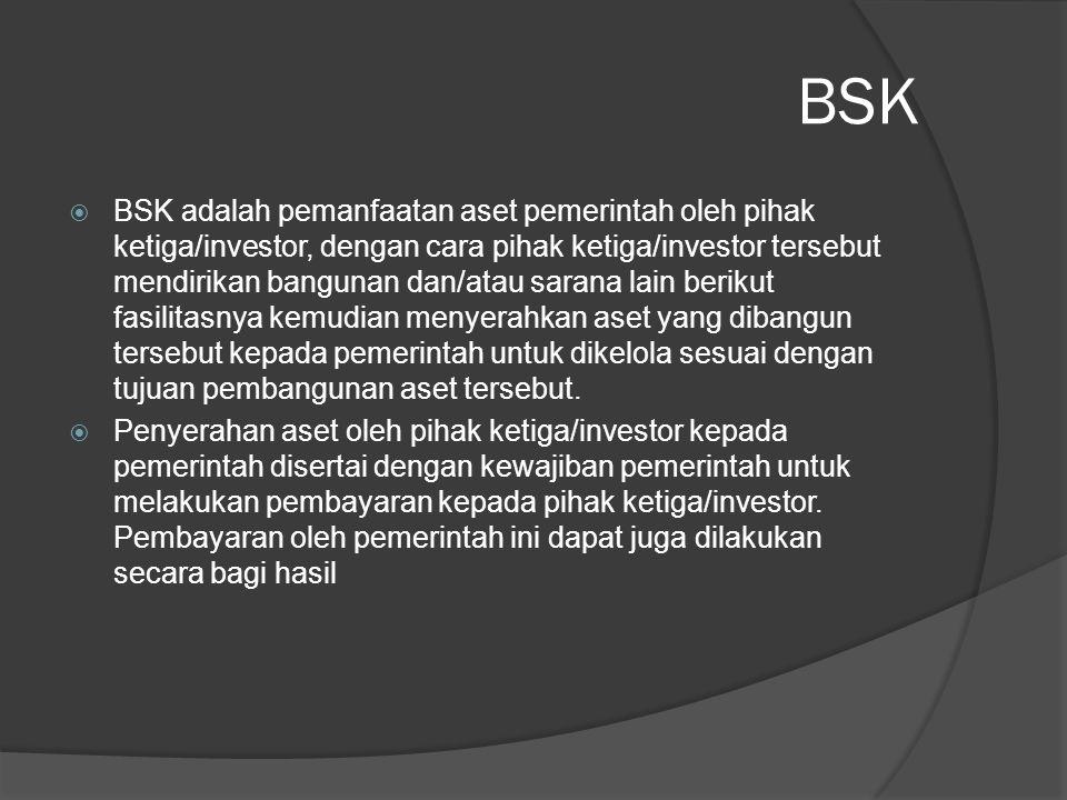 BSK  BSK adalah pemanfaatan aset pemerintah oleh pihak ketiga/investor, dengan cara pihak ketiga/investor tersebut mendirikan bangunan dan/atau saran