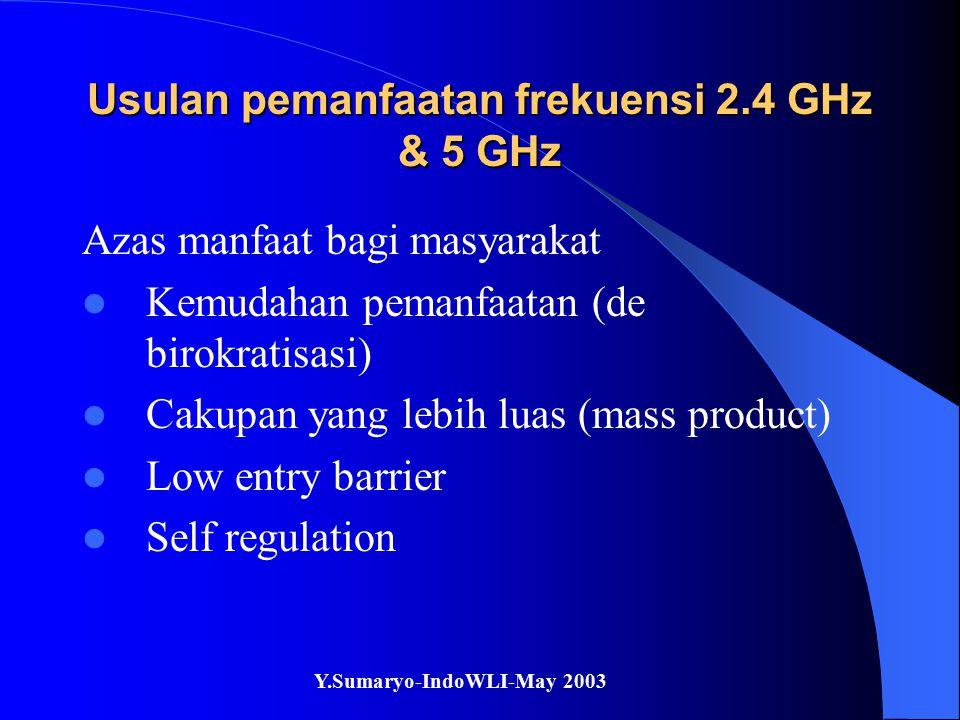 Y.Sumaryo-IndoWLI-May 2003 Usulan pemanfaatan frekuensi 2.4 GHz & 5 GHz Azas manfaat bagi masyarakat Kemudahan pemanfaatan (de birokratisasi) Cakupan yang lebih luas (mass product) Low entry barrier Self regulation