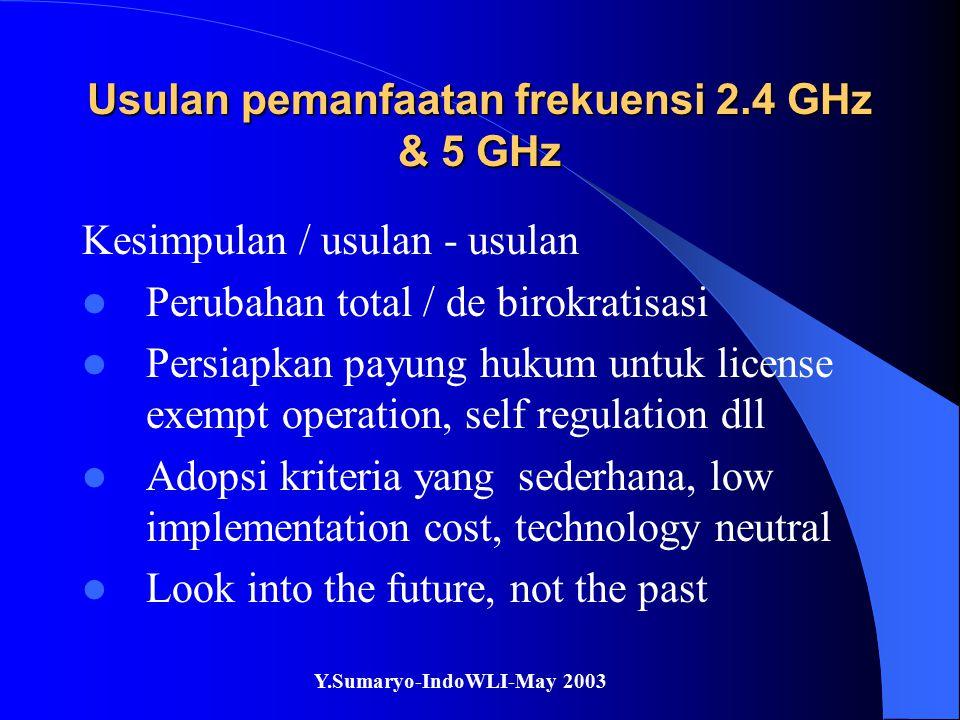 Y.Sumaryo-IndoWLI-May 2003 Usulan pemanfaatan frekuensi 2.4 GHz & 5 GHz Kesimpulan / usulan - usulan Perubahan total / de birokratisasi Persiapkan pay
