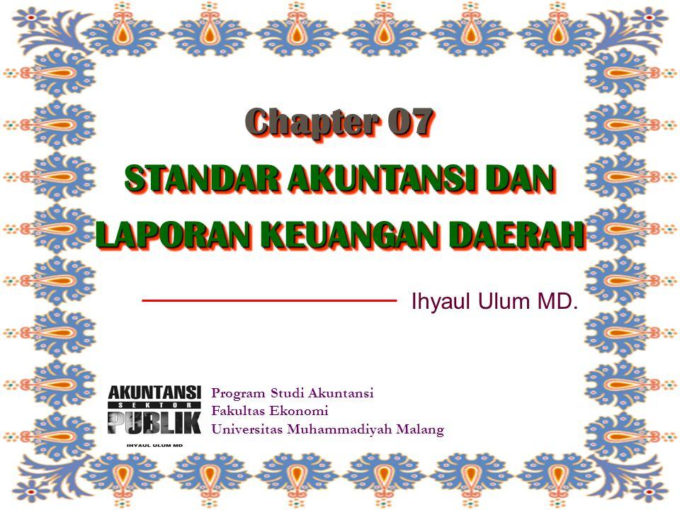 Chapter 07 STANDAR AKUNTANSI DAN LAPORAN KEUANGAN DAERAH Program Studi Akuntansi Fakultas Ekonomi Universitas Muhammadiyah Malang Ihyaul Ulum MD.