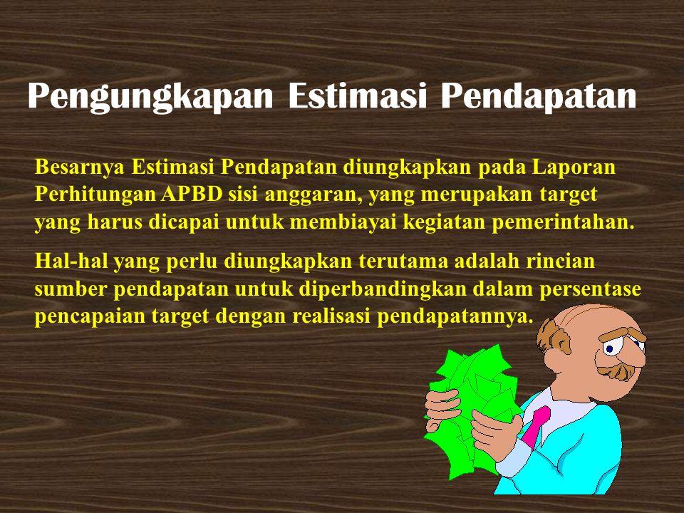 Pengungkapan Estimasi Pendapatan Besarnya Estimasi Pendapatan diungkapkan pada Laporan Perhitungan APBD sisi anggaran, yang merupakan target yang haru