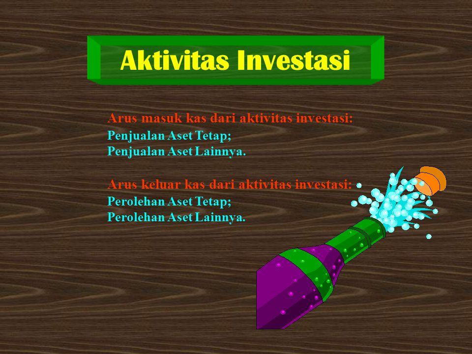 Aktivitas Investasi Arus masuk kas dari aktivitas investasi: Penjualan Aset Tetap; Penjualan Aset Lainnya. Arus keluar kas dari aktivitas investasi: P