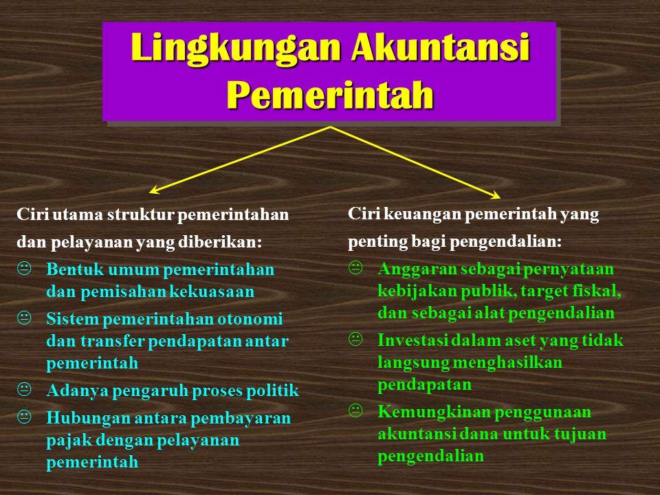 Lingkungan Akuntansi Pemerintah Ciri utama struktur pemerintahan dan pelayanan yang diberikan:  Bentuk umum pemerintahan dan pemisahan kekuasaan  Si