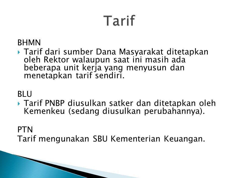 BHMN  Tarif dari sumber Dana Masyarakat ditetapkan oleh Rektor walaupun saat ini masih ada beberapa unit kerja yang menyusun dan menetapkan tarif sen
