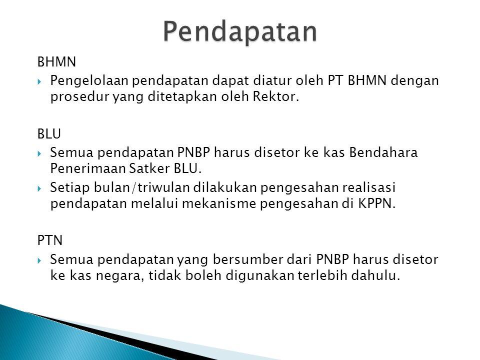 BHMN  Pengelolaan pendapatan dapat diatur oleh PT BHMN dengan prosedur yang ditetapkan oleh Rektor. BLU  Semua pendapatan PNBP harus disetor ke kas