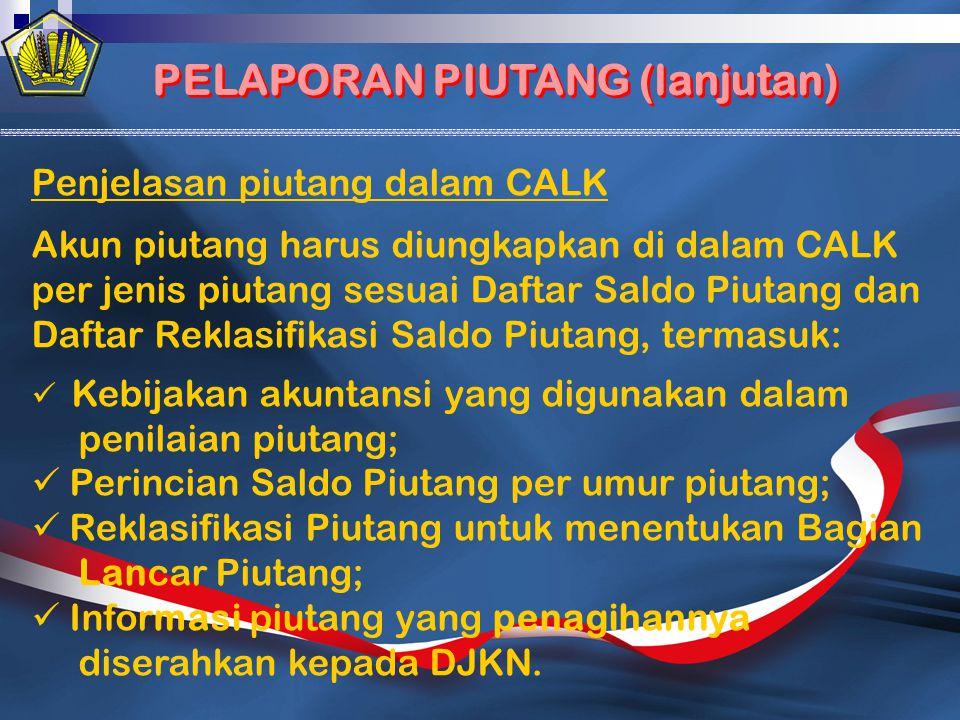 Penjelasan piutang dalam CALK Akun piutang harus diungkapkan di dalam CALK per jenis piutang sesuai Daftar Saldo Piutang dan Daftar Reklasifikasi Sald